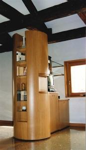 Abitazione a Venezia, mobile soggiorno in rovere, Arch. Carlo Capovilla